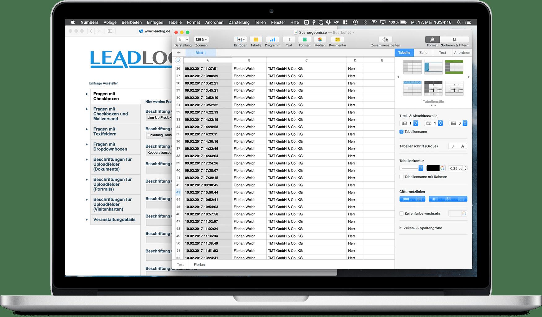 LeadLog Daten-Export